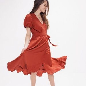 NWT: UO Amalfi Linen Midi Wrap Dress